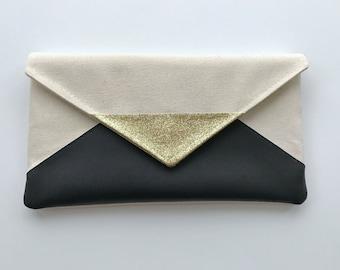Black Glitter Envelope Clutch, Glitter bridesmaid purse, bridesmaid gift, bridal clutch, wedding gift set