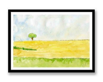 Landscape Painting // Original Fine Art Painting // Ink and wash // Watercolour // Ink // **Lone Tree**