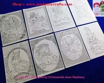 8 Colouring in sheets Voodoo Doll Style!. Emailed to you. Set #2