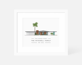 Custom House Portrait / New Home Illustration / Mid Century Modern Housewarming Gifts / Personalized Print of House / Anniversary Gift