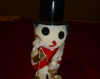 Snowman on Skis Vintage Chenille Holiday Ornament