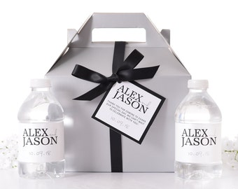 Wedding Guest Boxes - FROSTED SILVER Wedding Boxes & Tags - 25 Wedding Favor Boxes with 50 Water Bottle Labels - Wedding Gift Boxes