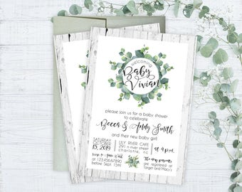 Baby Shower Invitations - Floral Garden Baby Shower Invitations - Printed Invitation Cards - Custom Garden Themed Baby Shower Invitations