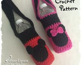 CROCHET PATTERN to make a Mickey Mouse & Minnie Mouse drink Carrier and applique, for water, soda, sport drink. Pdf Format, Instant Download