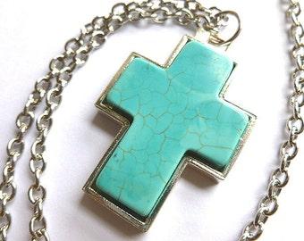 Vintage Silvertone & Turquoise Cross, Turquoise Silver Cross Pendant, Southwestern Cross Necklace, Turquoise Silver Cross and Neck Chain
