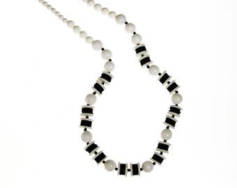 Long Black and White Bead Necklace, Chunky, Graduated