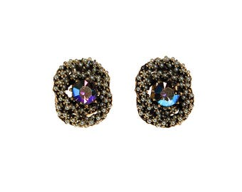 Aurora Borealis and Faux Seed Pearl Statement Earrings