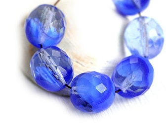 12mm Sapphire blue round beads,  Czech Glass, fire polished, faceted, large rounds, blue glass beads - 6Pc - 1052