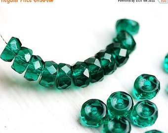 ON SALE Ocean Teal Rondelle beads, fire polished czech glass spacers - 6x3mm - 25Pc - 0675