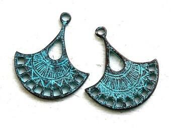 Earring connectors, green patina on copper, Teardrop charms, greek mykonos metal casting findings, boho charms - 30mm - 2Pc - F066
