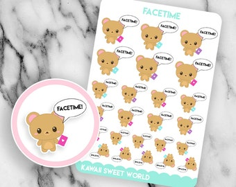 Kawaii FaceTime | Planner Sticker Sheet