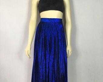Vintage Dress 80s Skirt Evan Picone Metallic Blue Pleated Long Skirt Size 6 Modern size Medium