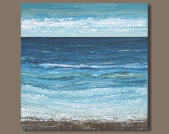 FREE SHIP - abstract painting, beach painting, blue green, drip, landscape painting, seascape painting, ocean painting, water canvas art