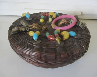 Wicker Sewing Basket Oriental Coins Beads Bracelet