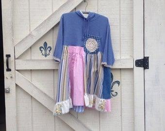 Patchwork dress L hippie chic, bohemian dress, Rustic hippie style