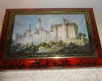 Vintage Tin Neuschwanstein Castle Germany Large Hinged Lid Rectangular Cookie Tin