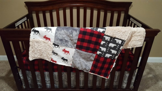 Baby Boy Crib Bedding Bear Moose Red Black Check And