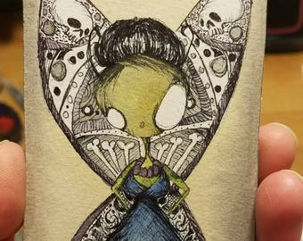 Atc Card, original, watercolor, ink, goth, butterfly, skull