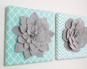 Baby Shower Gift-SET OF 2 Flower Wall Decor, Baby nursery decor, Aqua and Gray, felt flower wall art