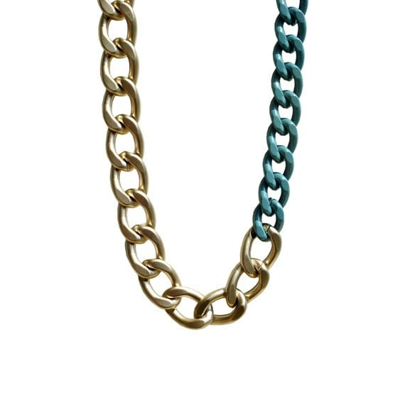 Color Block Chunky Chain Necklace - Teal