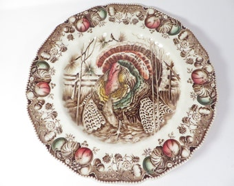 Johnson Brothers Turkey Dinner Plate - His Majesty Thanksgiving Transferware Dinner Plate