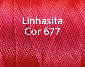 Linhasita Bright Red Cor 677, Waxed Polyester Macrame Cord / String / Hilo