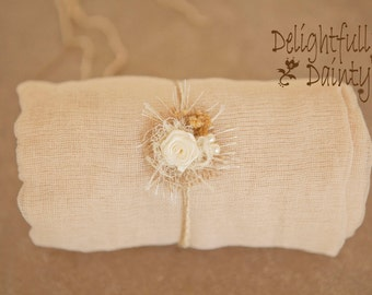 2  item Creamy Gauze Dainty 1 yard swaddle set w Headtie Cute Victorian Shabby Chic Neutral Newborn Prop Neutral Earth Tones Dainty