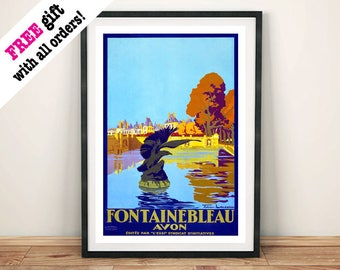 FONTAINEBLEAU FRANCE POSTER: Vintage French Travel Advert, Blue
