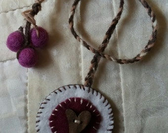 Wool felt heart bookmark, plum heart bookmark, string bookmark, button bookmark, felted wool bookmark, plum felt,  penny rug bookmark