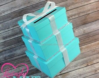 Card Holder 3 Tier Box |  Gift Money Box for Any Event in Light Teal and White | Wedding Card Box | Additional Colors Available