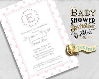 Sweet Classics Light Pink Baby Girl Shower Invitation with Monogram, Simple Polka Dot Design, Custom Printable Shower Invite 5x7 JPEG or PDF