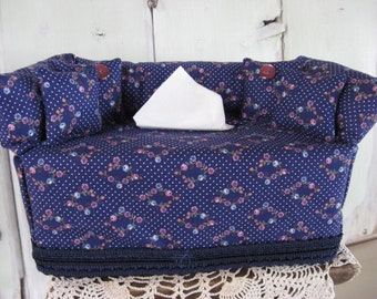 Couch Tissue Box Cover Mini Couch Navy Blue Floral and Dotted Print with Navy Trim Buttons Home Decor Kleenex Box Cover Bathroom Bedroom