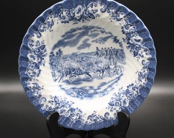 """Rimmed Soup Bowl, Johnson Bros """"Coaching Scenes Blue"""" China,  Made in England, Blue & White China"""