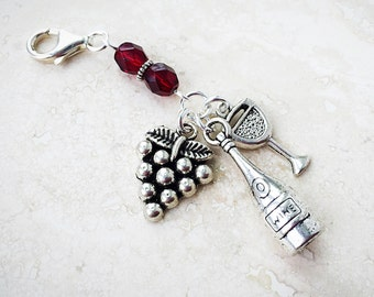 Wine Gift - Wine Accessory - Wine Lover - Boot Charm - Handbag Charm - Purse Jewelry - Zipper Pull Charm - Bag Clip
