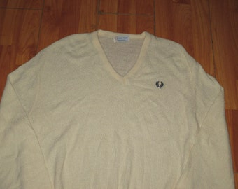 Rare Vintage 1980s Fred Perry V Neck Sweater