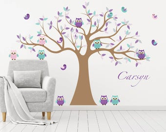 Nursery decals - Wall decal - Owl tree decal - tree decal - Bird - Tree - Girl tree - Vinyl tree decal - Vinyl decals