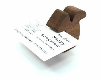 Wooden Business Card Holder, Walnut Squirrel, Wooden Card Holder, Wood Business Card Holder, Business Card Holder for Desk, Card Stand