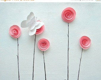 CLEARANCE SALE Pink & White Home Decor, Nursery Art, 3D Spiral Paper Flowers and Butterfly, Baby Shower Gift, Girlfriend Gift, Anniversary f