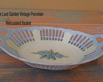 Porcelain Reticulated Basket Blue Floral Bavaria Vintage