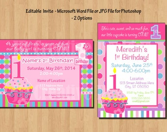 1st Birthday invitation Girl cupcake birthday invitation 1st Birthday Girl 1st birthday party decorations Sweet Cupcake birthday banner