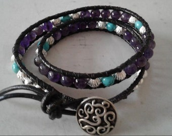 Amethyst and Turquoise With Silver, Leather Wrap Around Bracelet