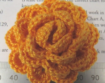 Irish crochet flower brooch in deep yellow