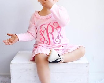 Valentine's Dress with monogram. Cute pink monogrammed outfit for baby, toddler, girl. Light Pink Ruffle Valentine dress with embroidery.