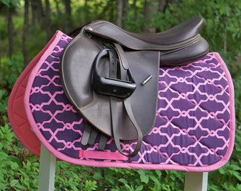 MADE TO ORDER Plum and Bubblegum Pink Saddle Pad