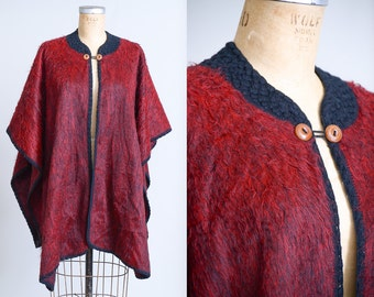 70s Mohair Poncho Garnet Red Pullover Minimalist Cape