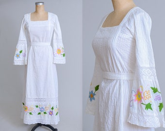 70s Mexican Dress Bell Sleeve Embroidered Floral White Cotton Bohemian Oaxacan Hippie Dress