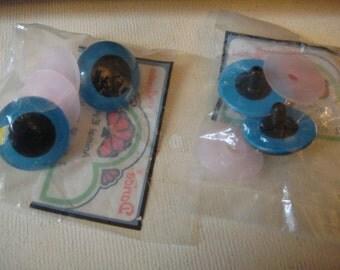 plastic vintage craft eyes turquoise blue 2 pair 30mm darcie animal eyes puppet doll