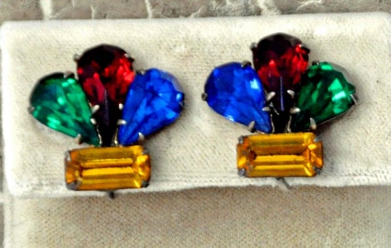 Reduced:Vintage ART DECO 1940s EARRINGS Screw Back Prong Set 4 Cut Rhinestones in Red, Green, Blue, and Yellow Set in Sterling Exc Condition