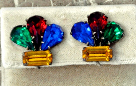 Vintage ART DECO 1940s EARRINGS Screw Back Prong Set 4 Cut Rhinestones in Red, Green, Blue, and Yellow Set in Sterling Exc Condition