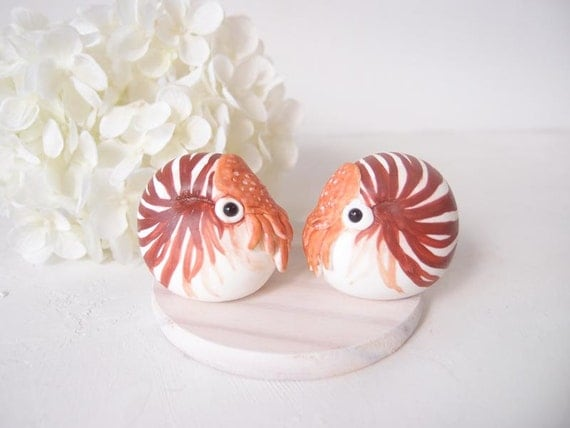 Hand Sculpted Wedding Cake Toppers - Nautilus